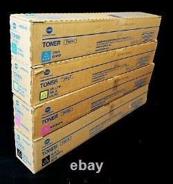 4 NEW Genuine Konica Minolta TN514K TN514C TN514M TN514Y Toner Cartridges Set