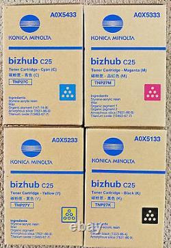 Genuine TNP27 CMYK SET 4 Konica Minolta bizhub C25 Toner TNP27K TNP27Y TNP27C