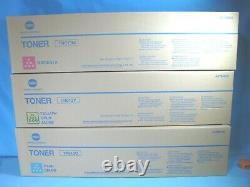 Lot of 3 GENUINE KONICA MINOLTA TN216M TN216C TN613Y Toner Cartridges CMY New