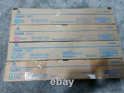 Lot of 4 Genuine Konica Minolta TN321, x2 Y, M, C, no K, A33K130,230,330 A33430