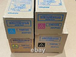 New Genuine Konica Tn610 Set Of Toners Cmyk, Factory Sealed, C5500/c6500