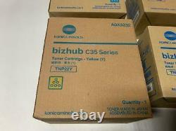 New Sealed Genuine Oem Bizhub C35 / C35p Konica Minolta Cymk Toner Set