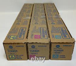 Set of 3 NEW Genuine Konica Minolta Toner Cartridges TN512Y TN512M TN512C Sealed