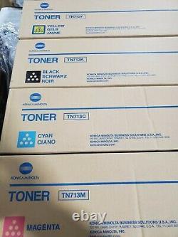 (1) Véritable Konica Minolta Couleur Toner Ensemble Tn713 Cmyk