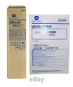 2 Nouveau Véritable Scellé Konica Minolta Dv511 Développeur Et Dr510 Drum Unit
