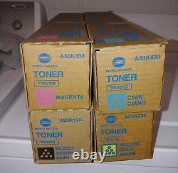 Konica Minolta Véritable Toner Set A33k230, A33k130, A33k130, & A33k430 4 Pièces