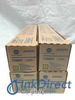 Véritable Konica Minolta A3vx231 Tn-620y Tn620y Toner Cartouche Jaune Lot De 4