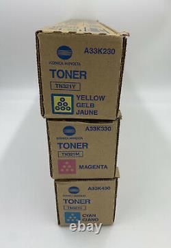 Véritable Konica Minolta Tn321 Color Toner Ensemble De 3 Cmy Tn-321 Nouveau Avec Open Box