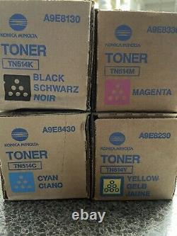 Véritable Konica Minolta Tn514 Toner Plein Ensemble De 4 Cmyk Tn-514 Oem Brand Nouveau