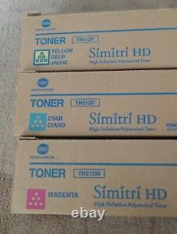 Véritable Konica Minolta Toners Lot Tn512 Ymc Pour Bizhub C454/c454e/c554/c554e